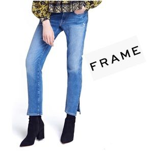 FRAME Le Boy Zip Hem Cropped Denim Jeans